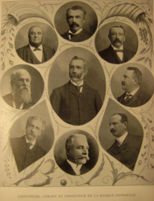 En 1900, les dirigeants de la Banque Nationale, au centre, Rodolphe Audette, président