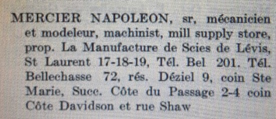 Scies Mercier - Annuaire Marcotte - 1914-1915