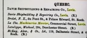 Scies Mercier - Lloyd's Register of shipping - 1921