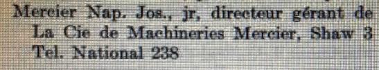 Scies Mercier - Annuaire - 1914-1915 No 3